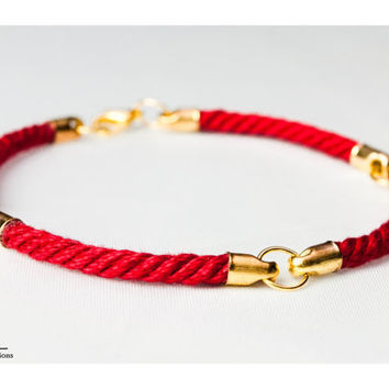 Four quarter nautical rope bracelet - Red