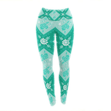 "Anneline Sophia ""Diamonds Mint"" Green Seafoam Yoga Leggings"
