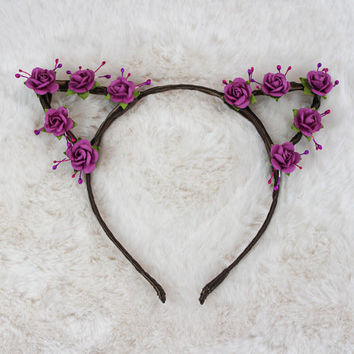 Fuschia Cat Ears - Flower Cat Headband - Cat Ears Headband - Kitty Ears -  Coachella Festival - Kitten Play Ears - Petplay - Kittenplay