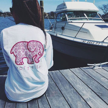 Elephant Print T-shirt  Long Sleeve Women Top Loose Cotton- White and Pink