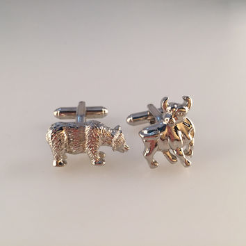 Bulls and Bears Cufflinks, Wall Street Cufflinks, Stock Market Cufflinks, Men's Cuff Links, Wedding Cufflinks, Father's Day, Graduation Gift