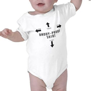 Daddy-Proof Baby Shirt Fathers Day Funny from Zazzle.com
