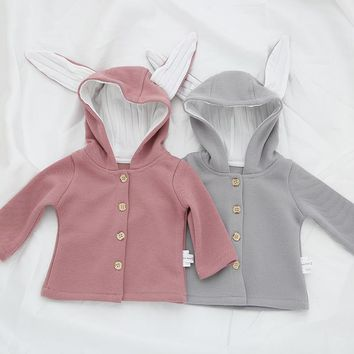 Infant Baby Girls Autumn Jacket Coat Toddler Cotton Clothes Girl Cute Rabbit Ear Hooded Single Breast Coats Free Drop Shipping