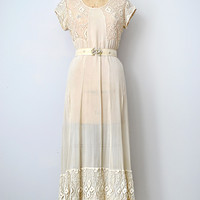 vintage 1930s sheer wedding dress with lace [Lady in Waiting Gown] - $298.00 : ADORED | VINTAGE, Vintage Clothing Online Store