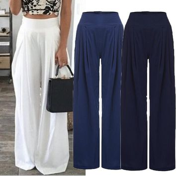 Women High Waist Loose Wide Leg Pants Plus Size
