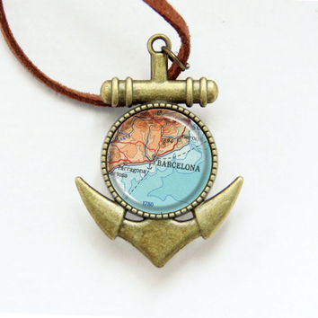 Vintage Map Necklace - Barcelona, Spain -Vintage Map Series