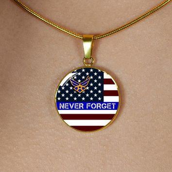 Thin Blue Line Quality Personalized Jewelry- U.S. Air Force Necklace