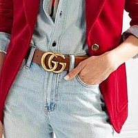 GUCCI Women Men Popular Classic Smooth Buckle Belt Leather Belt+Gift Box Brown
