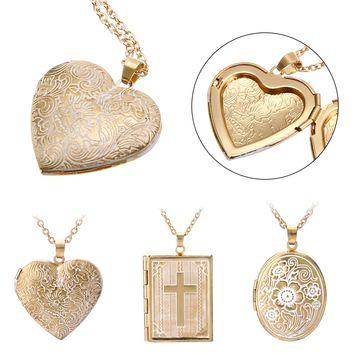 Shellhard Heart Necklaces & Pendants Vintage Love Heart Picture Photo Frame Memory Locket Pendant Necklace Fashion Jewelry