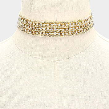 "12"" gold crystal choker collar necklace bridal prom 1"" wide"