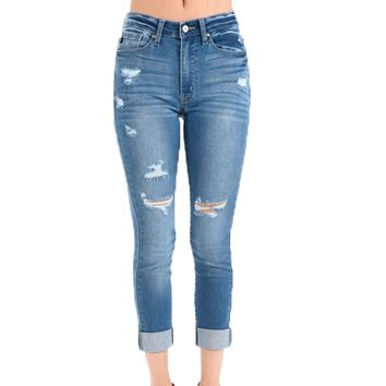 Kan Can Medium Wash Destructed Cuffed Ankle Jeans