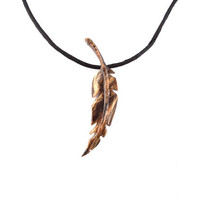 Feather Necklace, Feather Pendant, Men's Wood Necklace, Wood Feather Necklace, Wood Feather Pendant, Feather Jewelry, Hand Carved Pendant