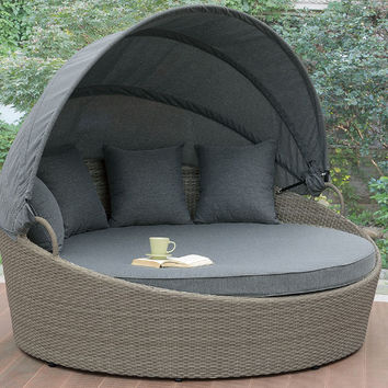 Poundex P50353 Aida light gray plastic wicker frame round patio sofa with canopy