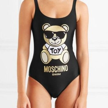 MOSCHINO Fashion Women Cute Teddy Bear Print U Collar Vest Type Backless One Piece Bikini Swimsuit Bathing Black I12879-1