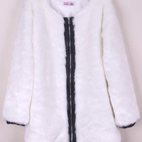 Autumn And Winter New Imitation Fur Coat Medium Style Luxury Design Fashion Women White