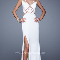 Floor Length Open Back La Femme Dress