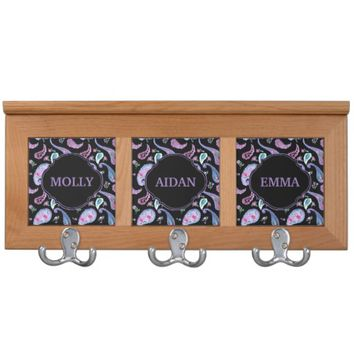 Watercolor Paisley Black Lavender Boho Chic Coat Racks