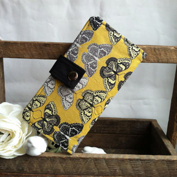 Pretty butterfly botanical print on yellow backgroud, coin pouch, bill slots, card slots