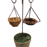 Fairy Garden Double Shepherds Hook, Bird Bath and Dragonfly Basket Planter - ...