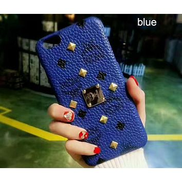 MCM iPhone7 mobile phone shell big high-end simple iPhone6plus protective cover F-OF-SJK Blue