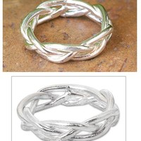 Hand Crafted Modern Sterling Silver Band Ring - Intertwining | NOVICA