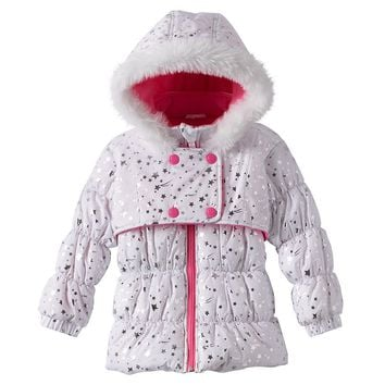 Wipette Foiled Star Hooded Puffer Jacket - Toddler Girl, Size: