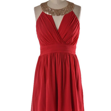Queen of Hearts Sequin Halter Dress - Red