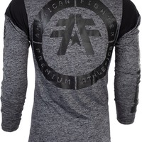 Licensed Official AMERICAN FIGHTER Mens LONG SLEEVE T-Shirt LORENZO Athletic BLACK Biker UFC $54