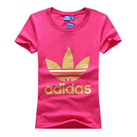 """Adidas"" Women Simple Casual Gold Clover Letter Print Round Neck Short Sleeve Cotton T-shirt"