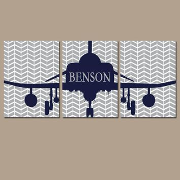 AIRPLANE Wall Art, Baby Boy Nursery Decor, Airplane Decor, AVIATION Theme Pictures, Personalized Boy Name Art, Big Boy Bedroom Set of 3