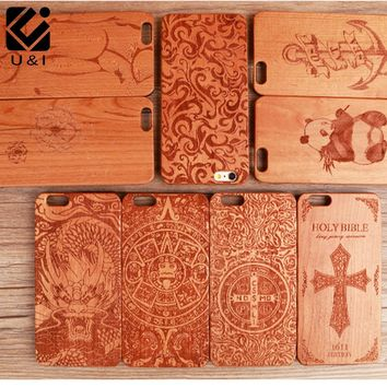 New Promotion Cherry Wood Phone Case for iPhone 8 8plus 5 5S SE 6 S 7 PLUS Wooden PC Back Protector Cover Fundas Flower Carving