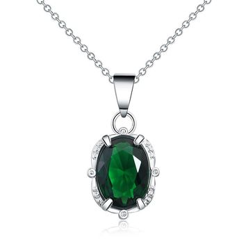 Mental Health Awareness Oval Crystal Halo Necklace