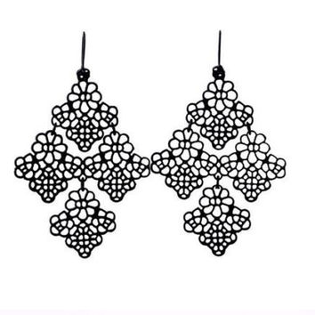 Chantilly Lace Black Filigree Chandelier Earrings
