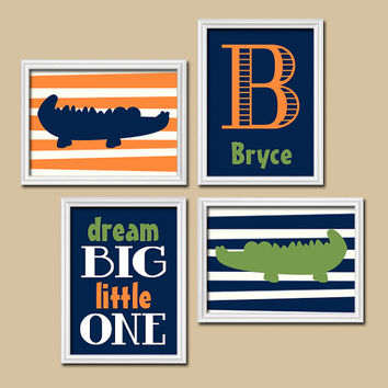 Alligator Wall Art Nursery Canvas Artwork Boy Child Navy Blue Green Orange Monogram Dream Big Set of 4 Prints Baby Decor Crib NURSERY