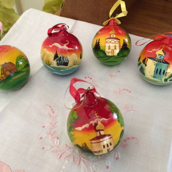 Set of 5 Wood Christmas Ornaments traditional russian souvenir curved painted made by hand collectible decorative holiday birthday gift wood