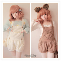 Free Ship Lovely Heart Downy Woolen Strap Overalls SP140357 from SpreePicky