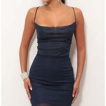 Party dresses > Lace Back Bodycon Dress In Sparkling Blue Sapphire