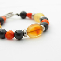 African Bracelet Bee Amber Coral Hematite Orange Yellow Black Honey Warm Fall Colors Nature Beaded Boho Retro Style