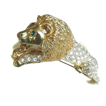 Large Clear Rhinestones Lion Shoulder Brooch Vintage Statement with Green Rhinestone Eyes