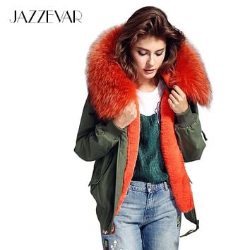 2016 new high fashion street women's winter jacket female worm bomber coat hooded large raccoon fur outerwear good quality