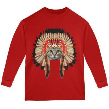 CREYCY8 Thanksgiving Funny Cat Native American Red Youth Long Sleeve T-Shirt