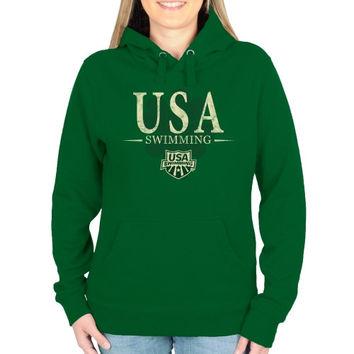 USA Swimming Ladies St. Paddy's Pullover Hoodie - Green