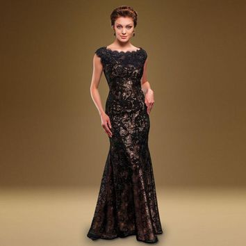 Elegant  Lace Mother Of the Bride Dresses Gold Women Gowns Cap Sleeve