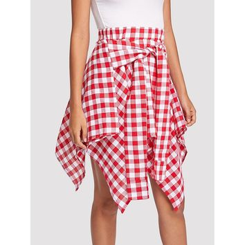 Knot Front Gingham Hanky Hem Skirt Red