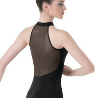 High-Neck Illusion Mesh Back Leotard | Balera™