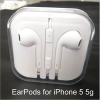 High quality earpods earphone for apple iphone 5 5s 5c headset 3.5mm clear bass headphone (Color: White) = 5987804993
