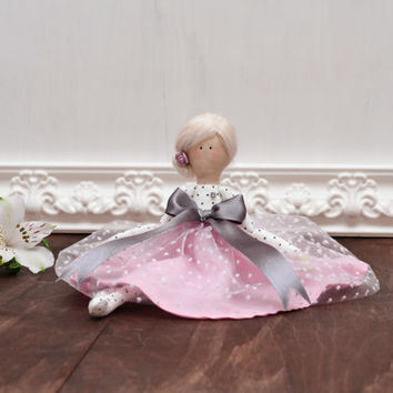 Fabric doll in polka dot and pink dress - cloth doll with blond hair - fabric doll - doll for little girls - tilda doll - rag doll