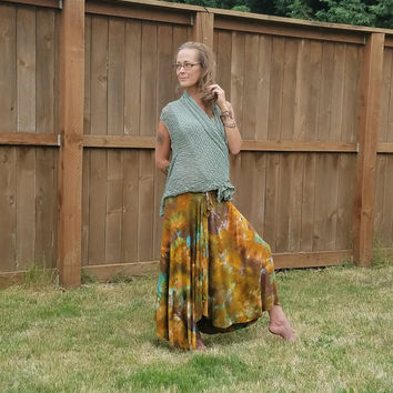 BRoWn anD babY BLue ice dyed skirt Tie dYe Skirt bROwn haNd DyeD sKirt feSTival sKirt boHO sKirt piXie SKirt faiRie Skirt hiPPie Skirt DAnce