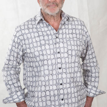 Mens Pure Cotton Shirt - Pebbles