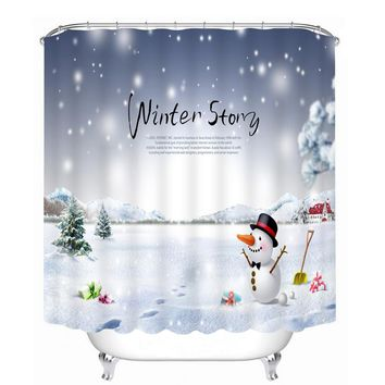 New 3D Shower Curtains Wearing Red Hat Snowman Pattern Waterproof Fabric Bathroom Curtains Washable Bathroom Products Christmas